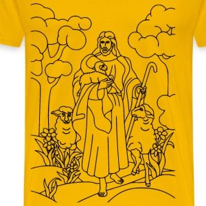 Jesus Christ The Shepherd Line Art - Men's Premium T-Shirt