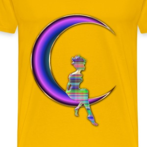 Chromatic Fairy Sitting On Crescent Moon Enhanced  - Men's Premium T-Shirt