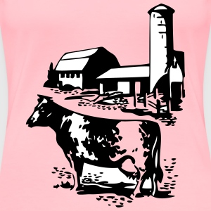 cow and barn - Women's Premium T-Shirt