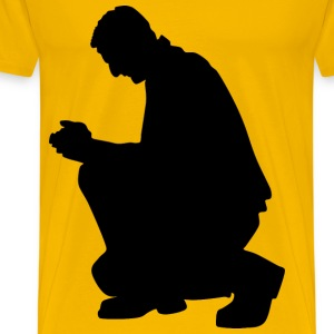 Kneeling Praying Man Silhouette - Men's Premium T-Shirt
