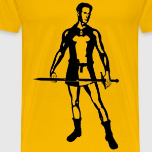 Knight With Sword Silhouette - Men's Premium T-Shirt