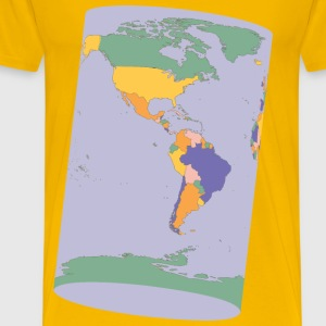 Political Map Earth Cylinder - Men's Premium T-Shirt