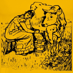 Lady Milking a Cow - Men's Premium T-Shirt