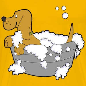 Dog In Washing Tub - Men's Premium T-Shirt