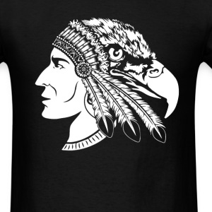 Native American Indian - Heads of man and eagle - Men's T-Shirt