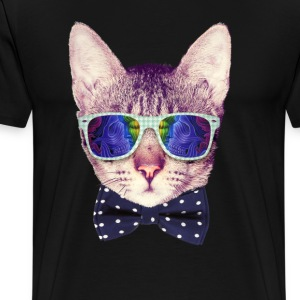 Hipster Cat with Glasses and Bow Tie - Men's Premium T-Shirt