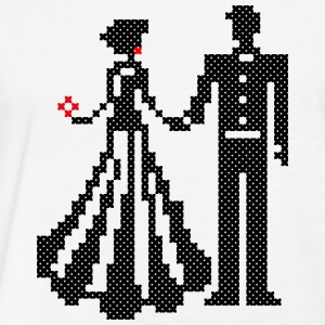 SILHOUETTE OF ELEGANT BRIDE AND GROOM CROSS-STITCH T-Shirts - Fitted Cotton/Poly T-Shirt by Next Level