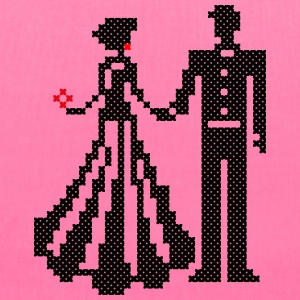 SILHOUETTE OF ELEGANT BRIDE AND GROOM CROSS-STITCH Bags & backpacks - Tote Bag