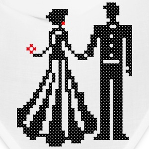 SILHOUETTE OF ELEGANT BRIDE AND GROOM CROSS-STITCH Caps - Bandana