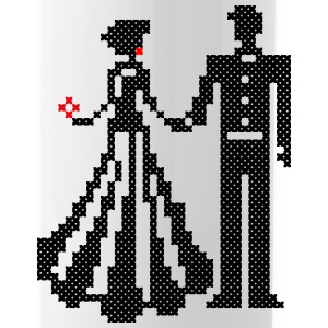 SILHOUETTE OF ELEGANT BRIDE AND GROOM CROSS-STITCH Sportswear - Water Bottle