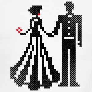 SILHOUETTE OF ELEGANT BRIDE AND GROOM CROSS-STITCH T-Shirts - Men's Ringer T-Shirt