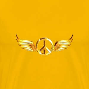 Gold Peace Sign Wings Enhanced No Background - Men's Premium T-Shirt