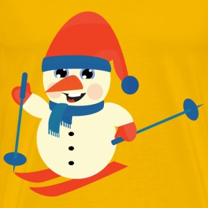Skiing Snow Man - Men's Premium T-Shirt
