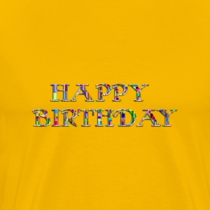 Checkered Chromatic Happy Birthday Typography Enh - Men's Premium T-Shirt