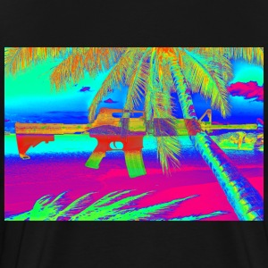 Psychedelic Beach with Rifle - Men's Premium T-Shirt
