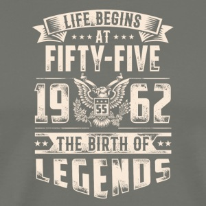 Life Begins at Fifty-five Legends 1962 for 2017 - Men's Premium T-Shirt