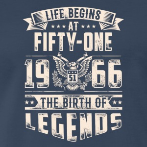 Life Begins at Fifty-One Legends 1966 for 2017 - Men's Premium T-Shirt