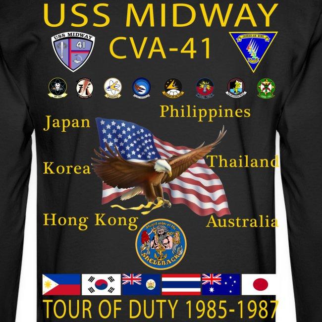 USS MIDWAY CV-41 1985-87 CUSTOM SHIRT - LONG SLEEVE - MM