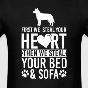 Australian Cattle Dog Dog Stole Heart Bed T-Shirt T-Shirts - Men's T-Shirt