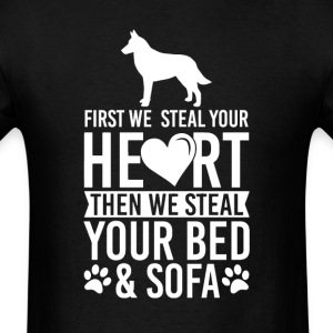 Belgian Malinois Dog Stole Heart Bed T-Shirt T-Shirts - Men's T-Shirt