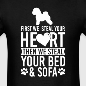 Bichon Frise Dog Stole Heart Bed T-Shirt T-Shirts - Men's T-Shirt