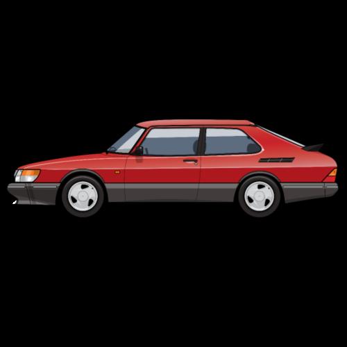 Saab 900 Turbo Classic Talladega red
