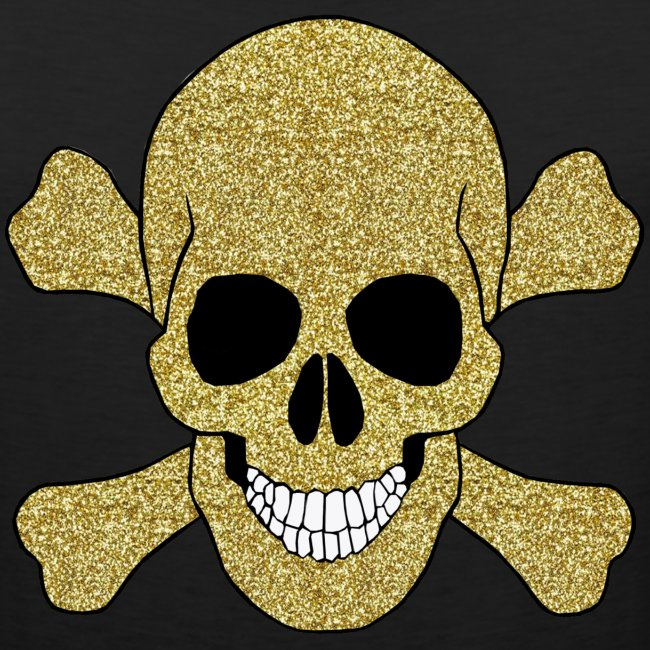 e78d84b3e7ce11 Gold Glitter Skull And Crossbones Tank Top
