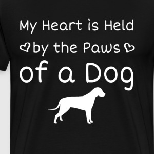 Heart is Held by the Paws of a Dog Animal Lover  T-Shirts - Men's Premium T-Shirt