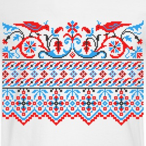 Two colorful cross-stitch birds Wedding engagement Long Sleeve Shirts - Men's Long Sleeve T-Shirt