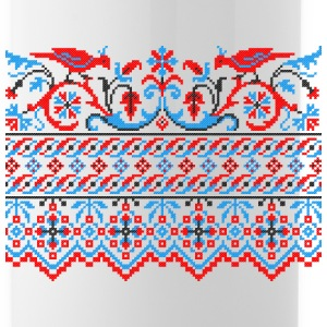 Two colorful cross-stitch birds Wedding engagement Sportswear - Water Bottle