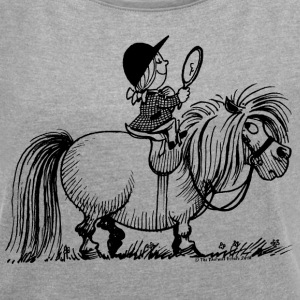 Thelwell Penelope Riding A Pony - Women's Roll Cuff T-Shirt