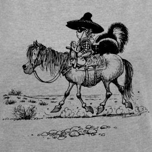 Thelwell Bandit With Cute Skunk And Horse - Women´s Rolled Sleeve Boxy T-Shirt