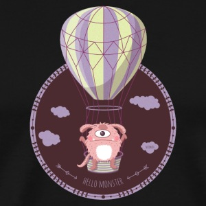 Monster on hot air balloon - Men's Premium T-Shirt