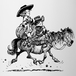 Thelwell Two Cowboys With Their Horse - Contrast Coffee Mug