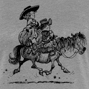 Thelwell Two Cowboys With Their Horse - Women's Premium T-Shirt
