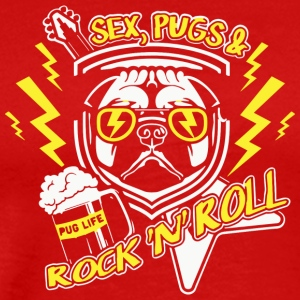 Funny PUG Shirt - Sex, Pugs and Rock-n Roll - Men's Premium T-Shirt