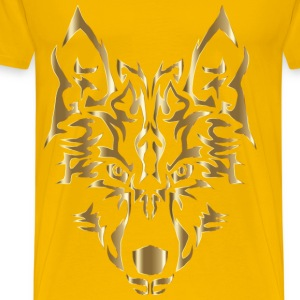 Polished Copper Symmetric Tribal Wolf No Backgroun - Men's Premium T-Shirt