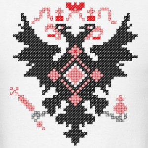 Cross-stitch heraldic RUSSIAN IMPERIAL TWO-HEADED  - Men's T-Shirt