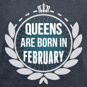 Queens Are Born In February T-Shirts - Women´s Rolled Sleeve Boxy T-Shirt