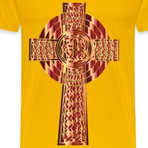 Golden Celtic Cross 3 - Men's Premium T-Shirt