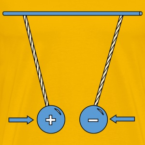 Physic diagram: oppositely charged pith balls attr - Men's Premium T-Shirt