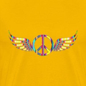 Gold Peace Sign Wings Psychedelic No Background - Men's Premium T-Shirt