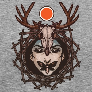 Girl-deer antlers-skull-butterfly - Men's Premium T-Shirt
