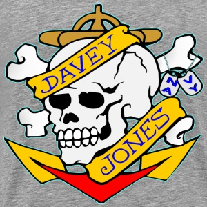 Davy Jones Locker Skull Tattoo  - Men's Premium T-Shirt