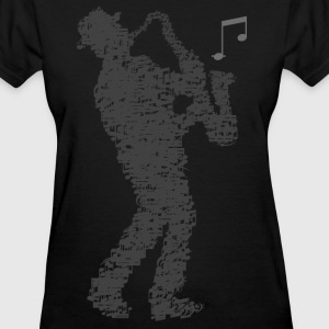 saxophone_player_notes_092016grau T-Shirts - Women's T-Shirt