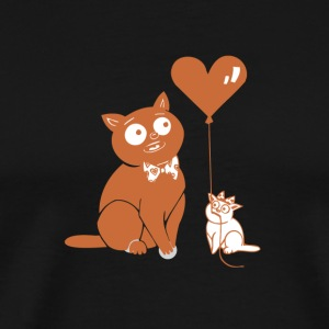 Valentine Cats with Heart Balloon - Men's Premium T-Shirt
