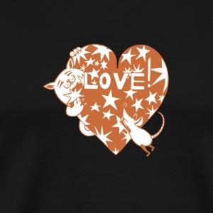 Valentine Cat and Mouse with Love Heart - Men's Premium T-Shirt