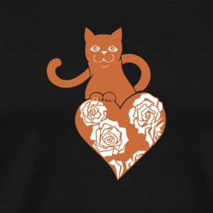 Valentine Cat with Heart and Roses - Men's Premium T-Shirt