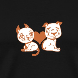 Valentine Dog and Cat with Heart - Men's Premium T-Shirt