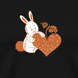 Valentine Rabbit with Heart - Men's Premium T-Shirt